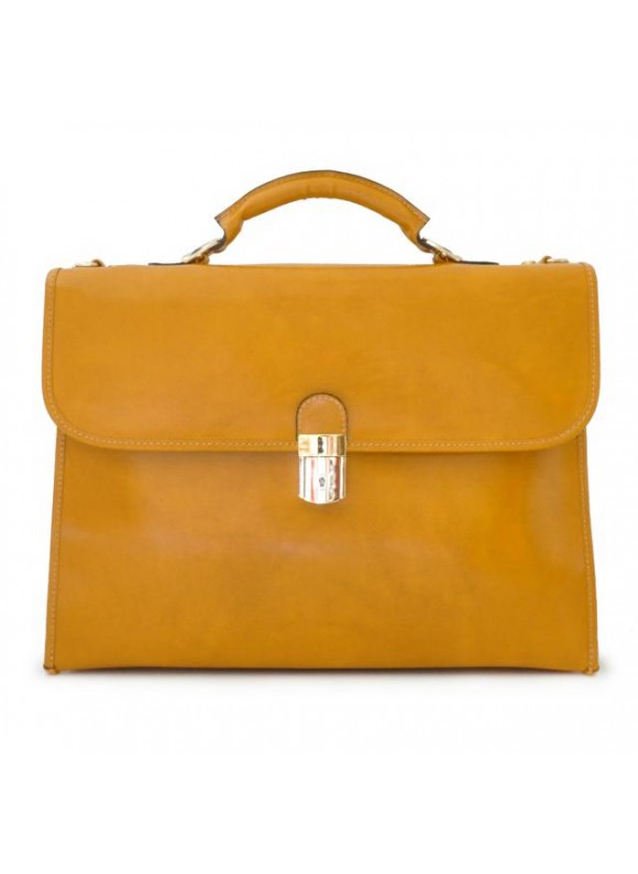 Pratesi Da Verrazzano Briefcase for Laptop in cow leather - Radica Mustard