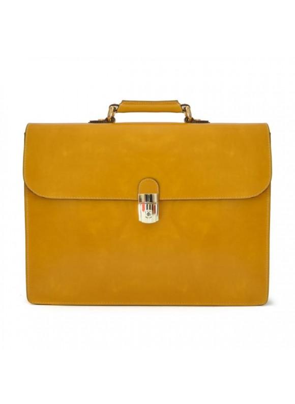 Pratesi Donatello Radica Briefcase in cow leather - Radica Mustard
