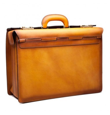Pratesi Briefcase Lorenzo Il Magnifico in cow leather - Bruce Cognac