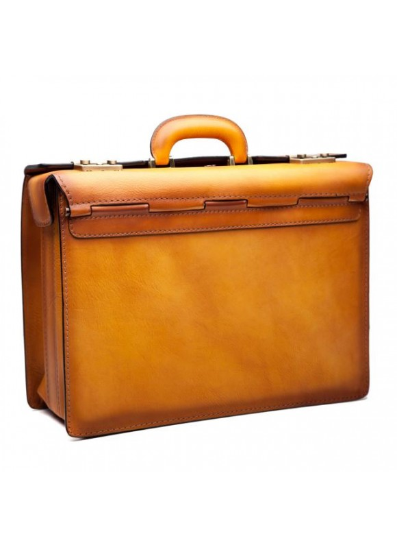 Pratesi Briefcase Lorenzo Il Magnifico in cow leather - Bruce Cognac