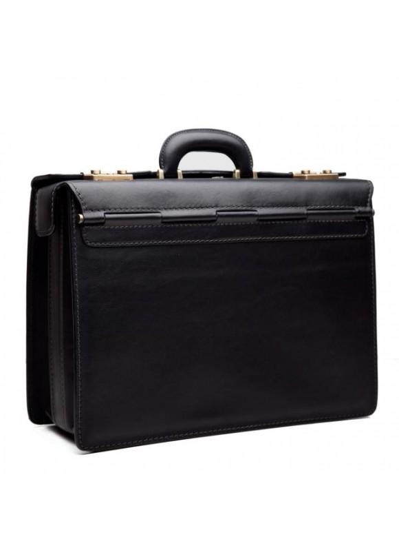 Pratesi Briefcase Lorenzo Il Magnifico in cow leather - Bruce Black