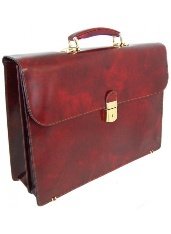 Pratesi Donatello Radica Briefcase in cow leather - Radica Chianti