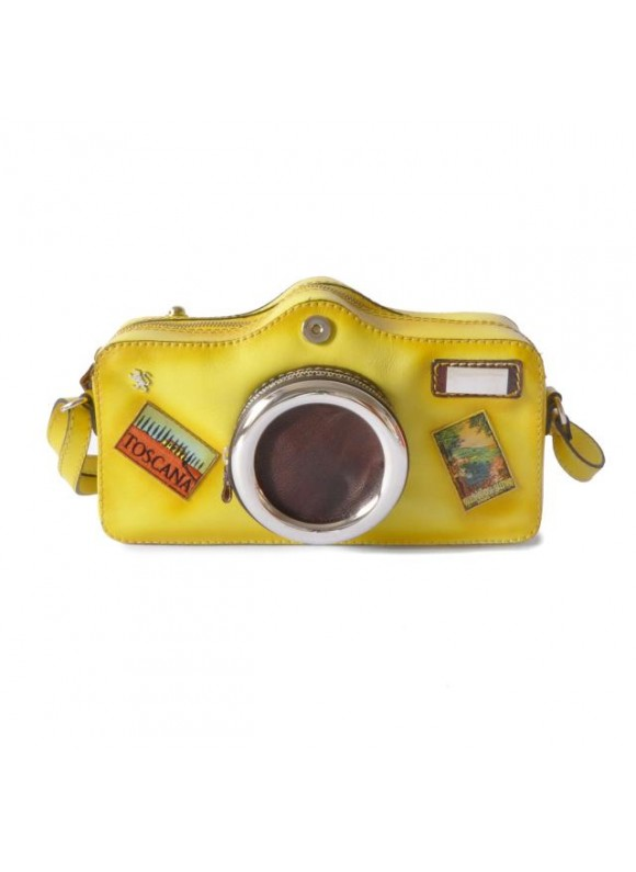 Pratesi Photocamera Bruce Cross-Body Bag in cow leather - Bruce Yellow