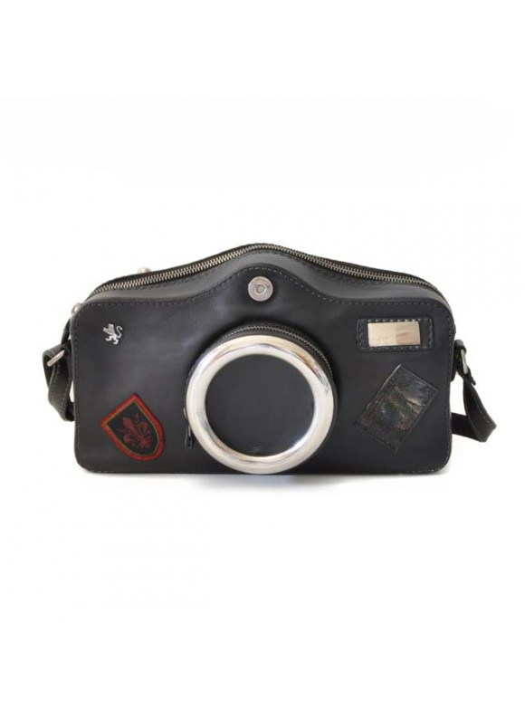 Pratesi Photocamera Bruce Cross-Body Bag in cow leather - Bruce Black