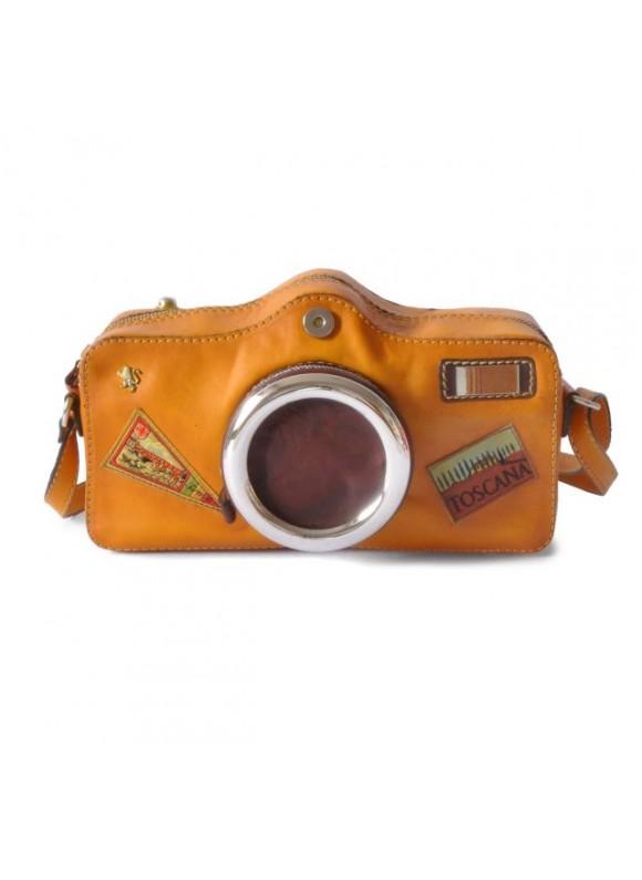 Pratesi Photocamera Bruce Cross-Body Bag in cow leather - Bruce Mustard