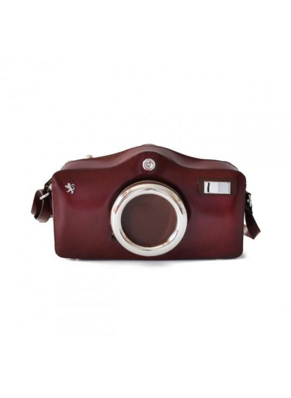 Pratesi Photocamera Radica Shoulder Bag in cow leather - Radica Chianti