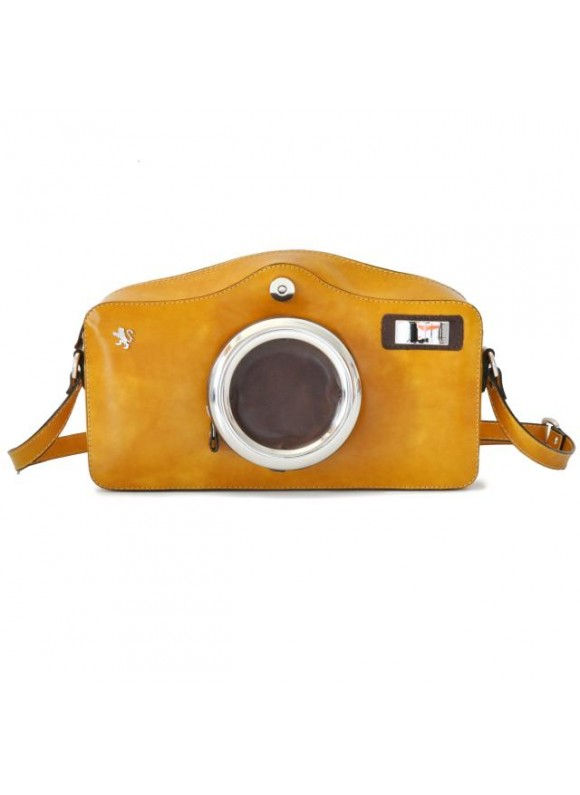 Pratesi Photocamera Radica Shoulder Bag in cow leather - Radica Mustard