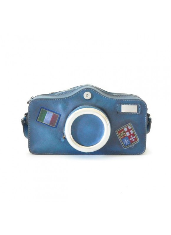 Pratesi Photocamera Bruce Cross-Body Bag in cow leather - Bruce Blue