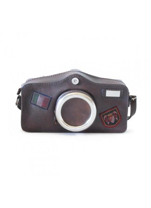 Pratesi Photocamera Bruce Cross-Body Bag in cow leather - Radica Coffee