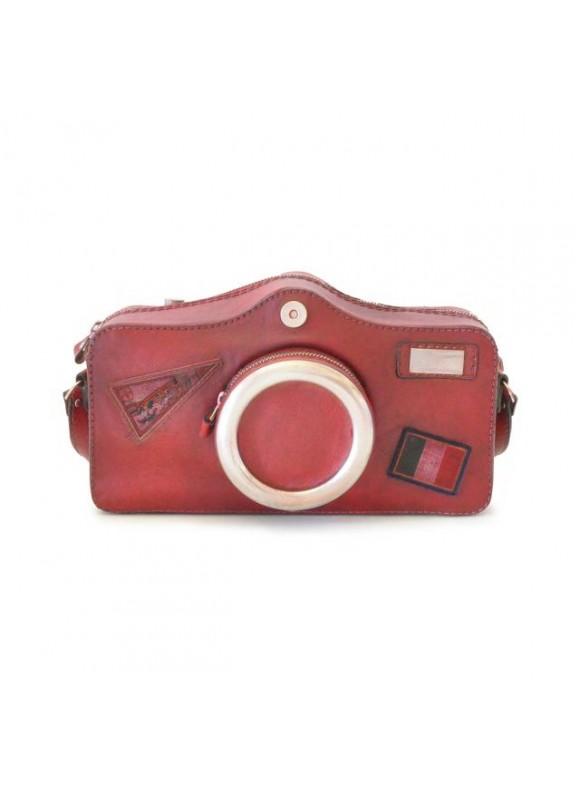Pratesi Photocamera Bruce Cross-Body Bag in cow leather - Bruce Cherry