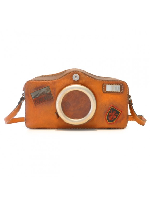 Pratesi Photocamera Bruce Cross-Body Bag in cow leather - Bruce Cognac