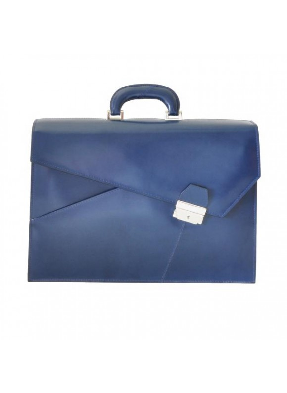Pratesi Leon Battista Alberti Briefcase in cow leather - Radica Blue