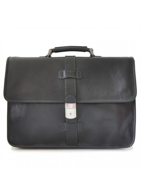 Pratesi Briefcase Pratomagno in cow leather - Bruce Black
