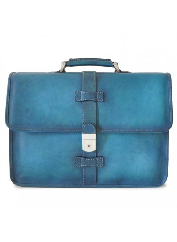 Pratesi Briefcase Pratomagno in cow leather - Bruce Blue