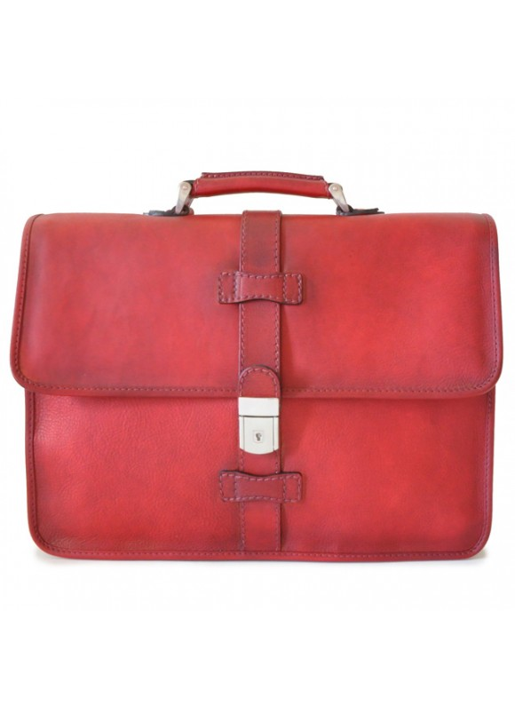 Pratesi Briefcase Pratomagno in cow leather - Bruce Cherry