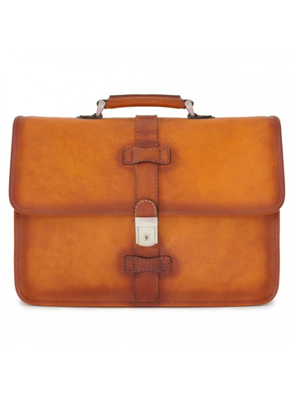 Pratesi Briefcase Pratomagno in cow leather - Bruce Cognac
