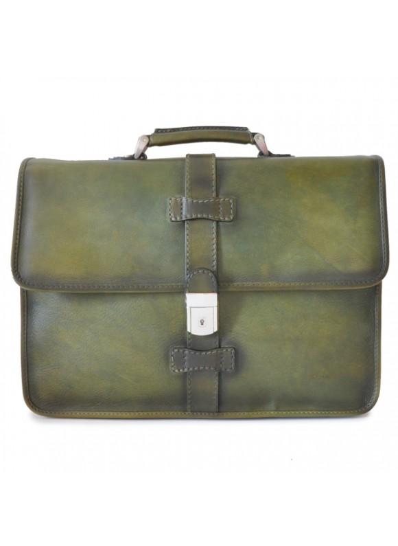 Pratesi Briefcase Pratomagno in cow leather - Bruce Dark Green