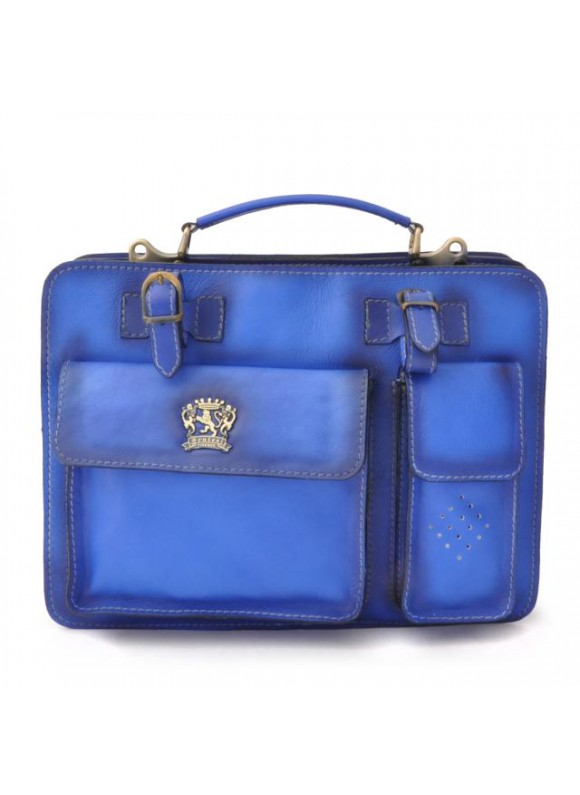 Pratesi Business Bag Milano Medium in cow leather - Bruce Electric Blue
