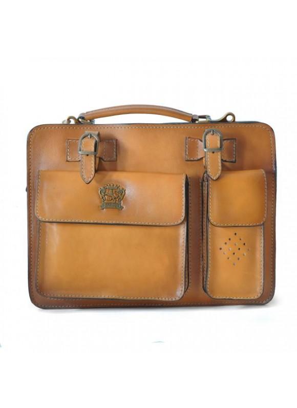 Pratesi Business Bag Milano Medium in cow leather - Bruce Mustard