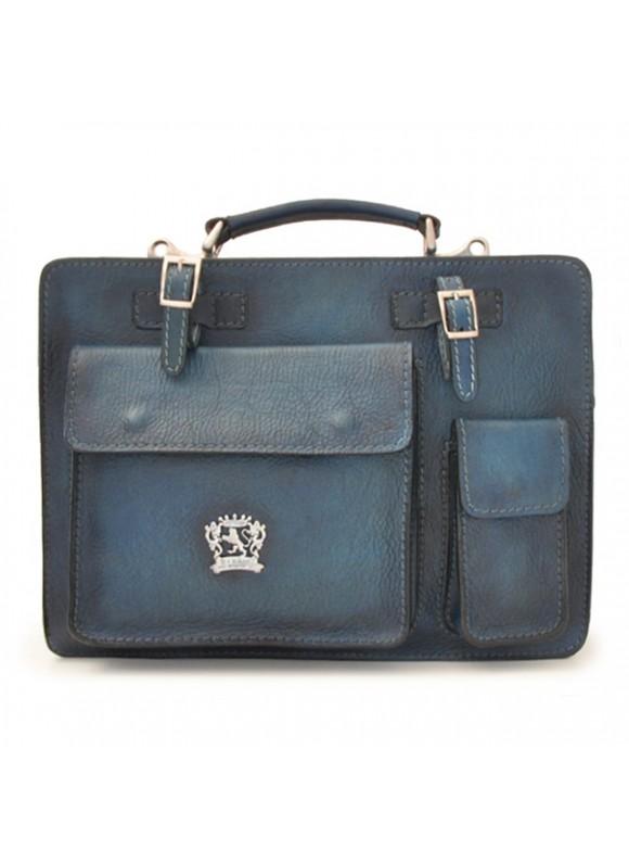 Pratesi Business Bag Milano Medium in cow leather - Bruce Blue