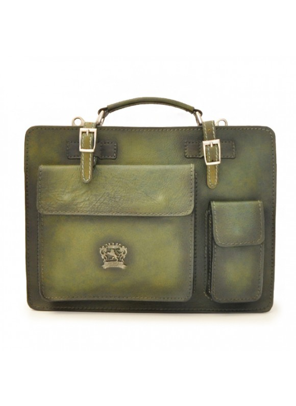 Pratesi Business Bag Milano Medium in cow leather - Bruce Dark Green