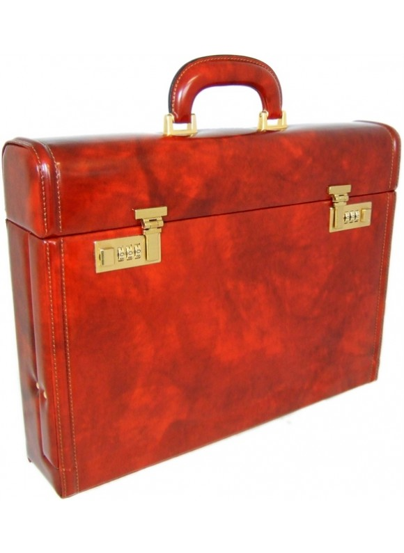 Pratesi Ghirlandaio Briefcase in cow leather - Radica Brown