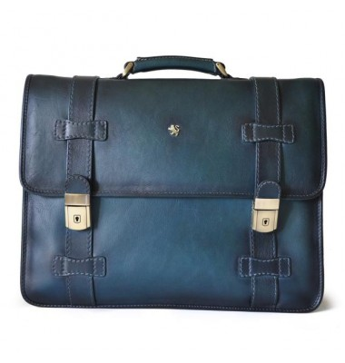 Pratesi Briefcase Vallombrosa in cow leather - Bruce Blue