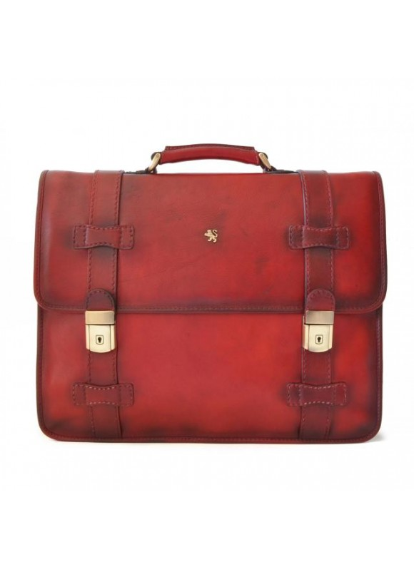 Pratesi Briefcase Vallombrosa in cow leather - Bruce Cherry