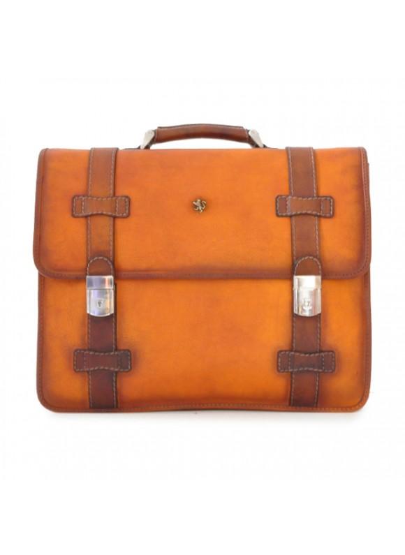Pratesi Briefcase Vallombrosa in cow leather - Bruce Cognac
