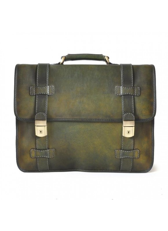 Pratesi Briefcase Vallombrosa in cow leather - Bruce Dark Green