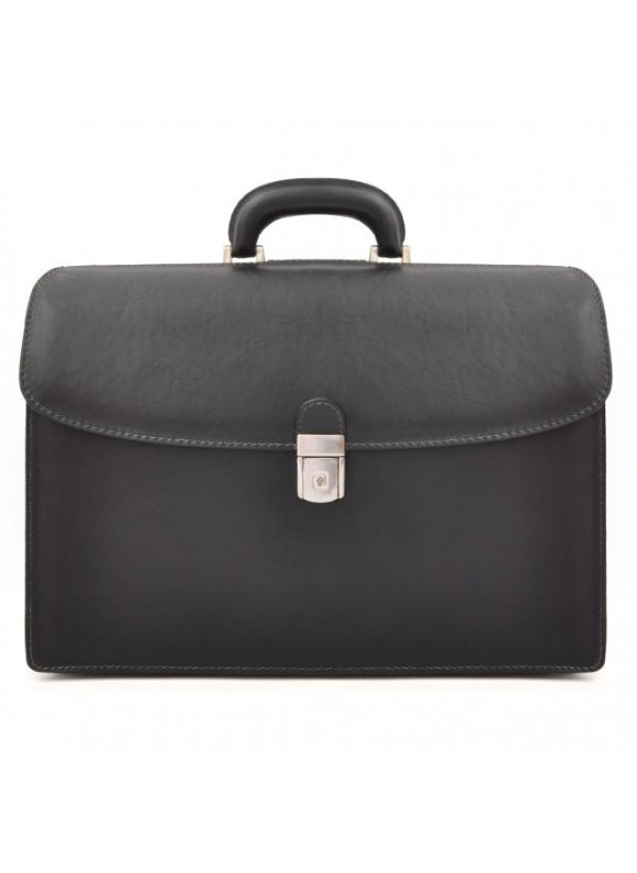 Pratesi Briefcase Leonardo in cow leather - Bruce Black