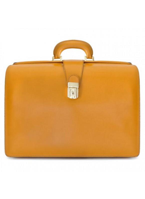 Pratesi Leonardo Briefcase in cow leather - Radica Mustard