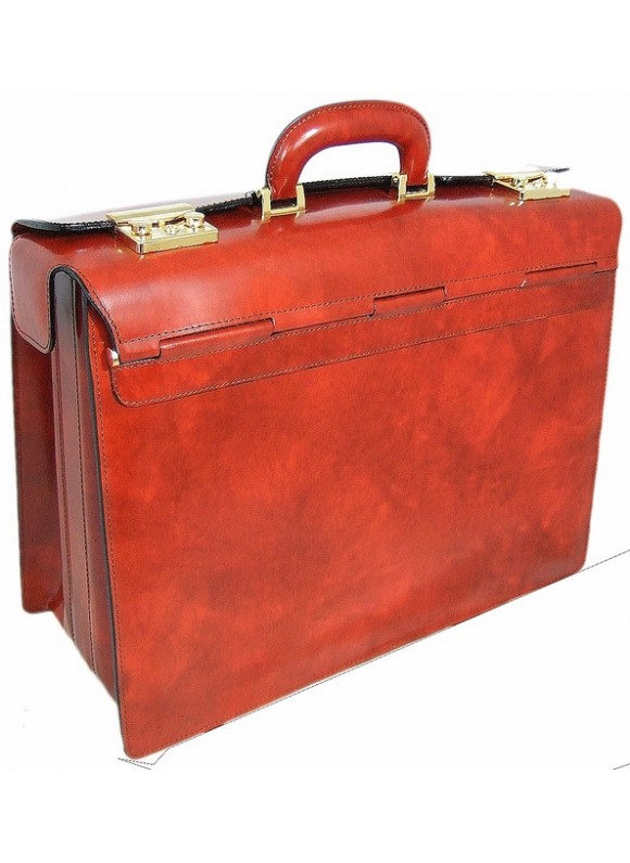 Pratesi Lorenzo il Magnifico Pilot Case in cow leather - Radica Brown