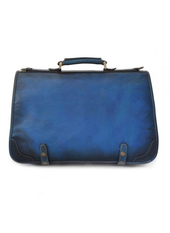 Pratesi Messenger Ammannati in cow leather - Bruce Blue