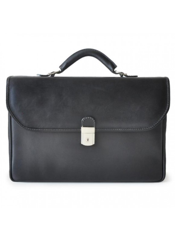 Pratesi Briefcase Piccolomini in cow leather - Bruce Black