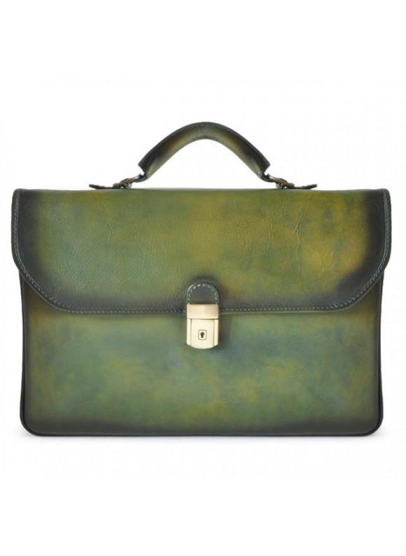 Pratesi Briefcase Piccolomini in cow leather - Bruce Dark Green