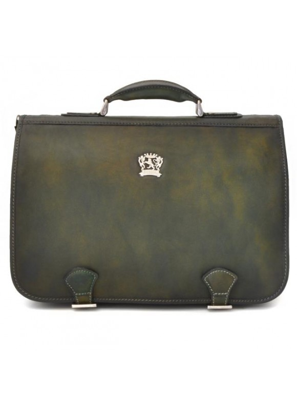 Pratesi Business Bag Secchieta in cow leather - Bruce Dark Green
