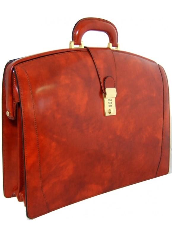 Pratesi Brunelleschi Briefcase in cow leather - Radica Brown