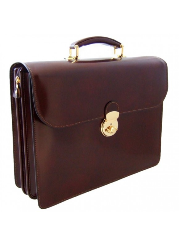 Pratesi Verrocchio PC Briefcase in cow leather - Radica Coffee