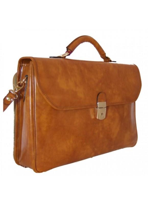Pratesi Piccolomini Briefcase in cow leather - Radica Mustard