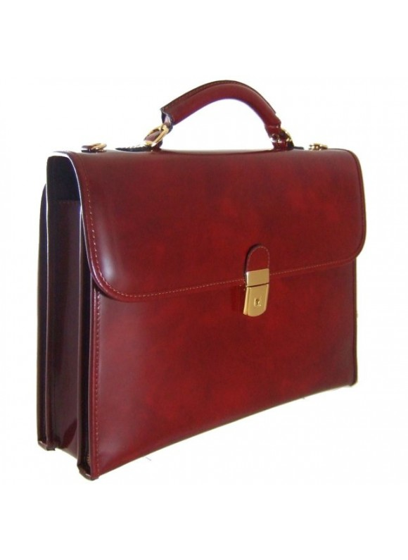 Pratesi Da Verrazzano Briefcase for Laptop in cow leather - Radica Chianti
