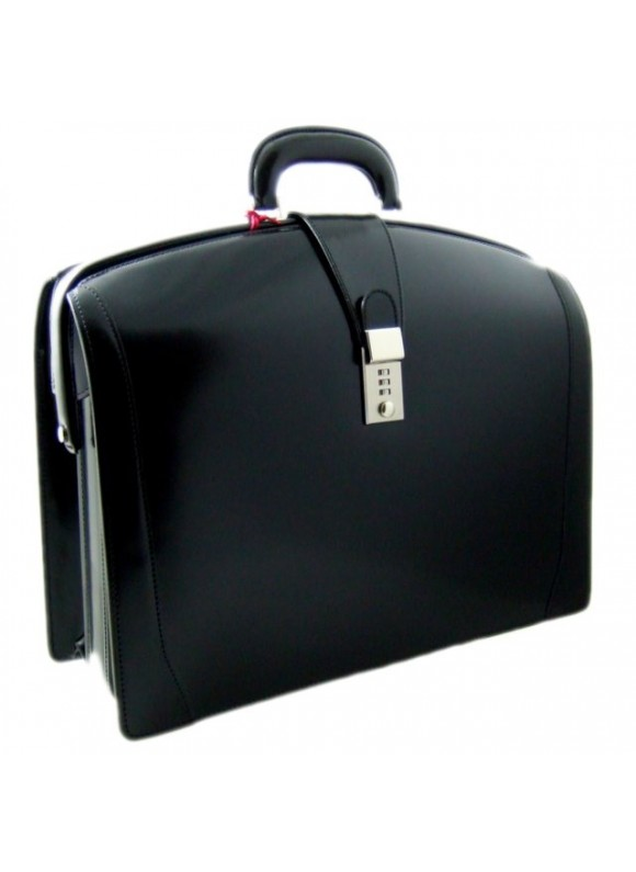 Pratesi Brunelleschi Big Briefcase for Laptop in cow leather - Radica Black