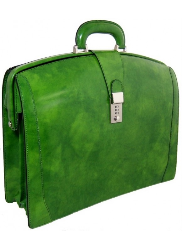 Pratesi Brunelleschi Briefcase in cow leather - Radica Dark Green