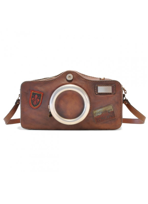 Pratesi Photocamera Bruce Cross-Body Bag in cow leather - Bruce Brown