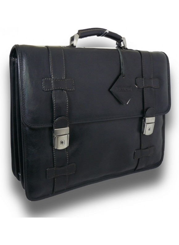 Pratesi Briefcase Vallombrosa in cow leather - Bruce Black