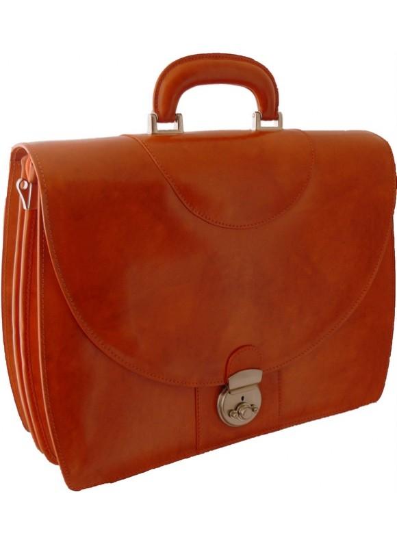 Pratesi Michelangelo PC Briefcase in cow leather - Radica Orange