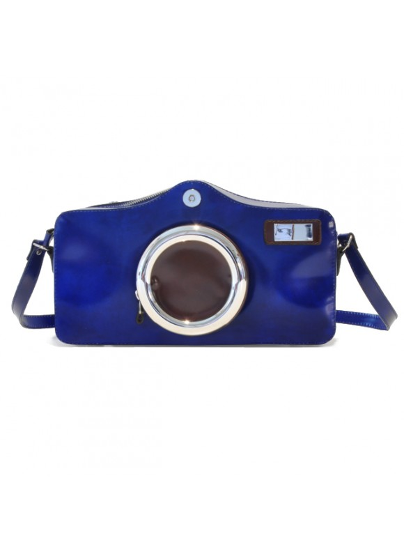 Pratesi Photocamera Radica Shoulder Bag in cow leather - Radica Electric Blue