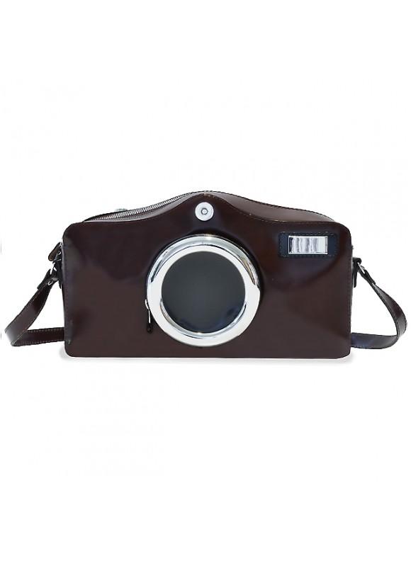Pratesi Photocamera Radica Shoulder Bag in cow leather - Radica Coffee