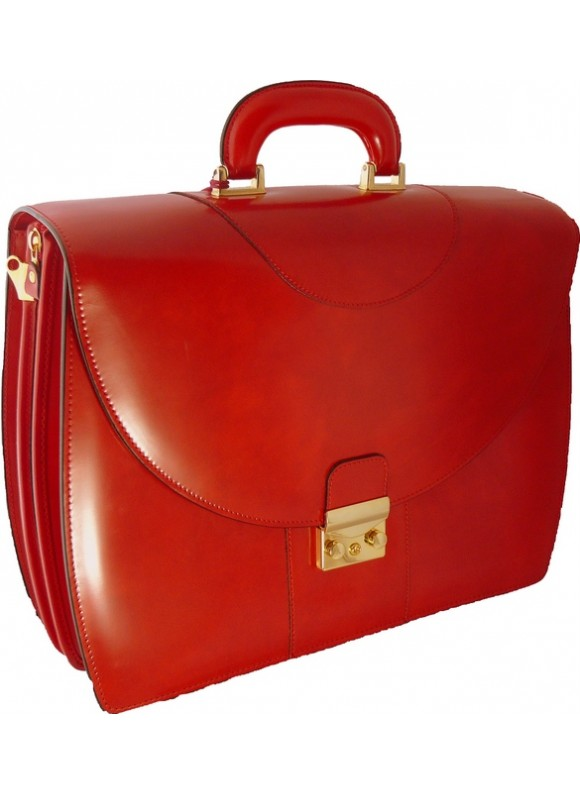 Pratesi Michelangelo PC Briefcase in cow leather - Radica Cherry