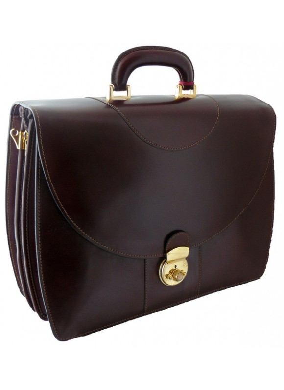 Pratesi Michelangelo PC Briefcase in cow leather - Radica Coffee